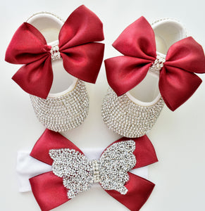 Butterfly Satin Bow Baby Girl Swarovski Shoes