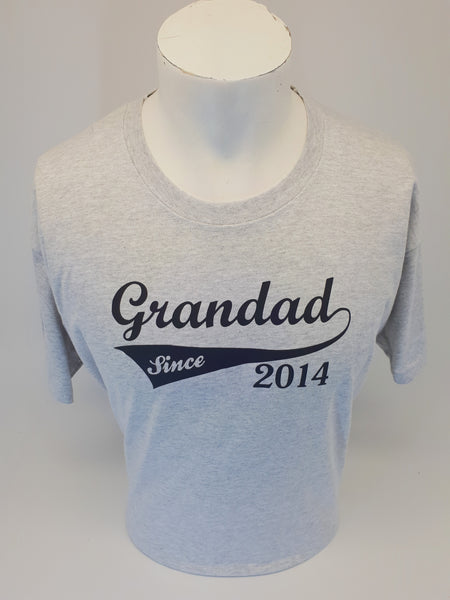 GRANDAD SINCE 2014 MENS T-SHIRT HEATHER GREY SIZE X-LARGE - Tshirt-printing4u.com