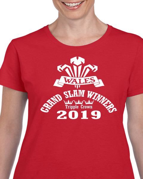 Ladies Wales Rugby Grand Slam Winners 2019 Quality T shirt, dates and score to back - Tshirt-printing4u.com
