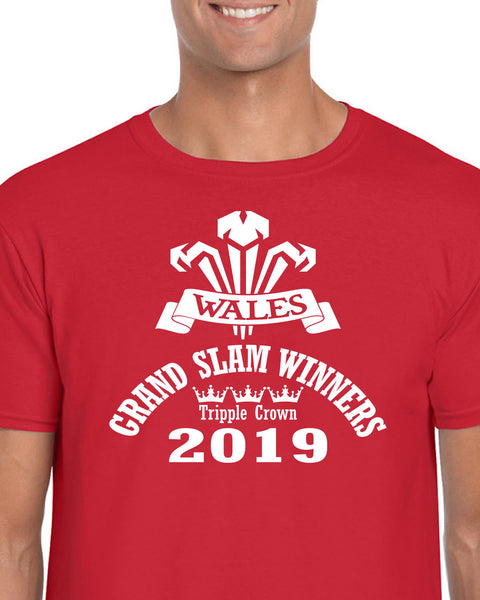 Wales Rugby Grand Slam Winners 2019 Quality Mens T shirt, dates and score to back - Tshirt-printing4u.com