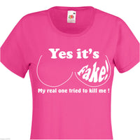 YES IT'S FAKE LEFT BREAST CANCER LADIES FUSCHIA FRUIT OF THE LOOM SIZE LARGE - Tshirt-printing4u.com