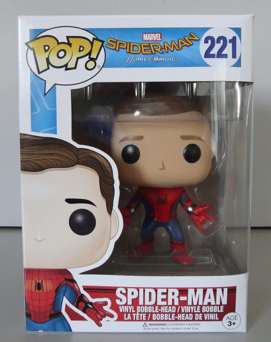 Funko POP! Vinyl Marvel - Spider-Man (Homecoming) - Figure Bobble-Head Spider-Man (Unmasked) (221) - DAMAGED PACKAGING