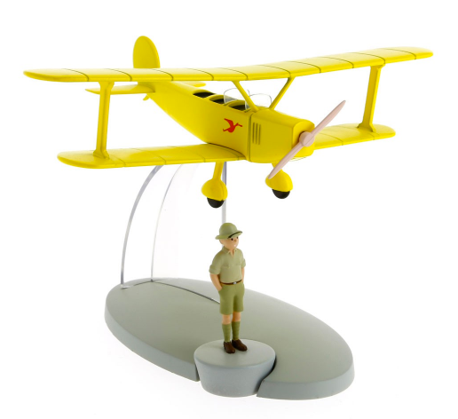 Moulinsart - Tintin - Transport - Figure Resin Yellow Biplane & Tintin