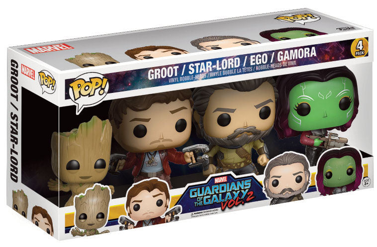 Funko Pop! Vinyl Marvel - Guardians of the Galaxy (Vol. 2) - Figure Bobble-Heads Groot / Star-Lord / Ego / Gamora (4-Pack)