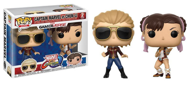 Funko POP! Games - Marvel vs Capcom Infinite - Vinyl Figure Bobble-Heads Captain Marvel vs Chun-Li (2 Pack)