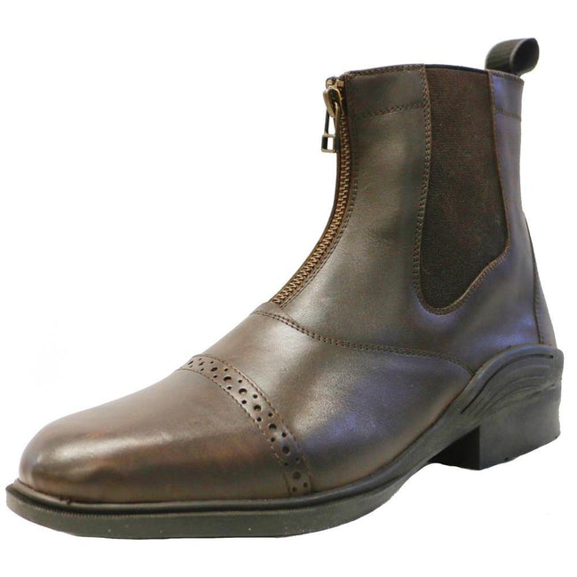 Ladies Leather Zipper Boot - Brown