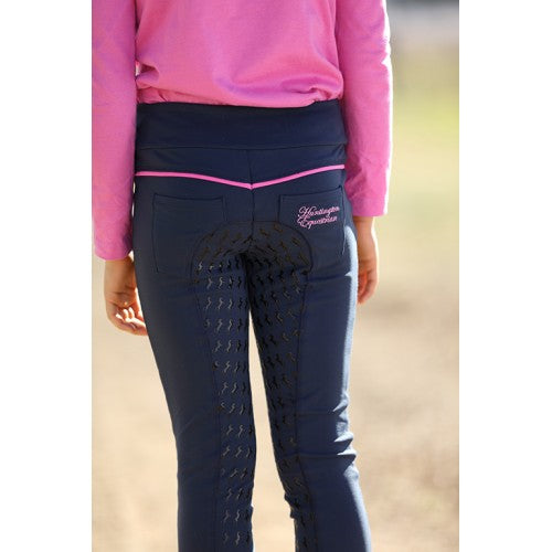 Girls Pull-On Gel Stretch Breeches - Navy/Pink-Huntington