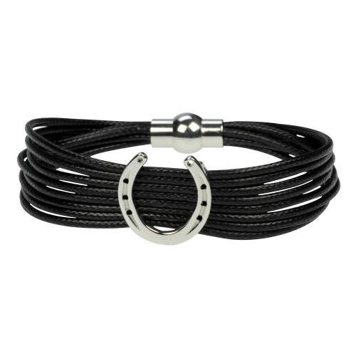 Bracelet - Horseshoe on Cord Black w/Silver Horseshoe-STC