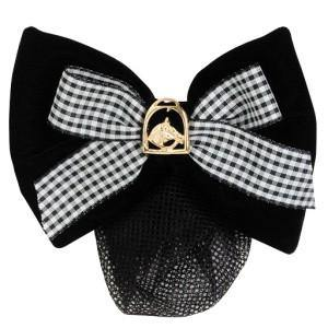 Hawthorne Show Bow Black Velvet w/Check Ribbon w/Gold Horsehead in Stirrup-STC