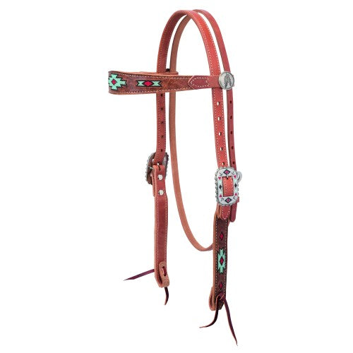 Weaver Native Spirit Browband Russet Headstall-WEAVER LEATHER