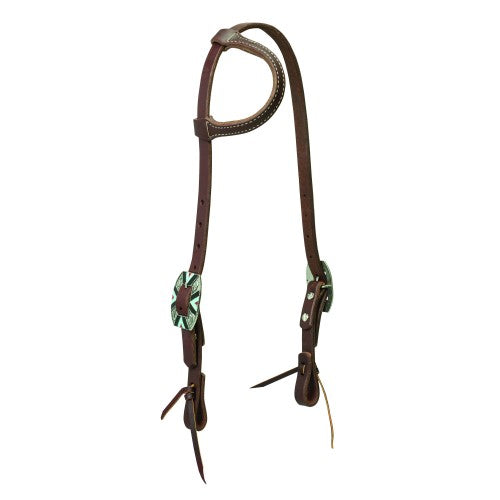 Weaver Southwest Rope Edge Hardware Sliding Ear Headstall-WEAVER LEATHER