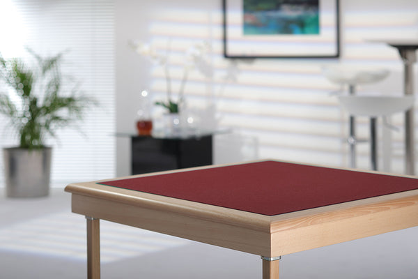 Royal card table with natural beech finish and burgundy baize