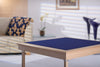 Royal card table with natural beech finish and blue baize