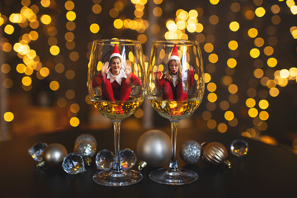 Elves and Wine Glasses | Holiday Digital Backdrop Bundle