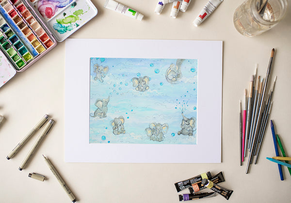 Baby Blue Elephants - Fine Art Decor
