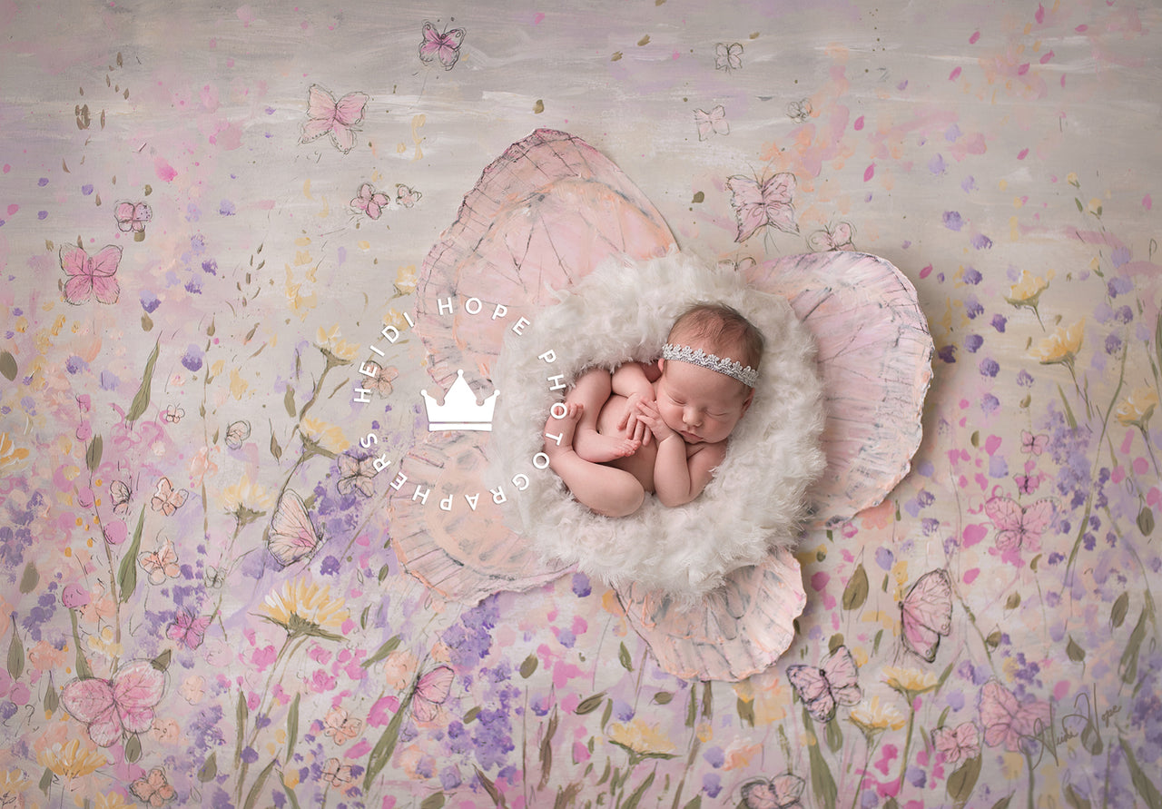 Digital Backdrop | Blush Butterflies