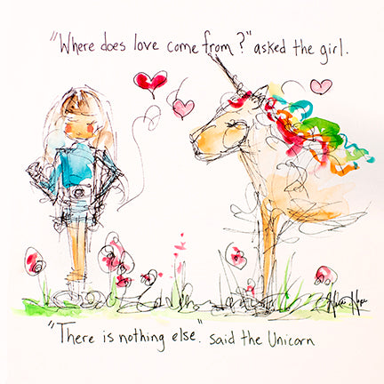 """Where does love come from?"" Unicorn Printable"