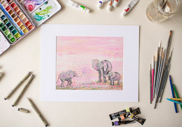 Pink Elephants - Fine Art Decor