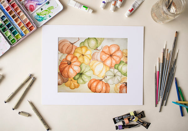 Water Color Pumpkins- Fine Art Decor