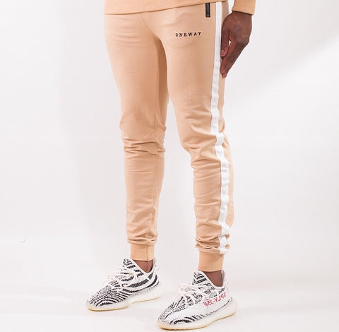 Beige / White contrast panel Joggers