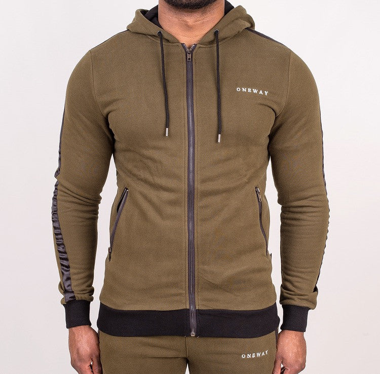 Khaki/Black Hoody with contrast panel