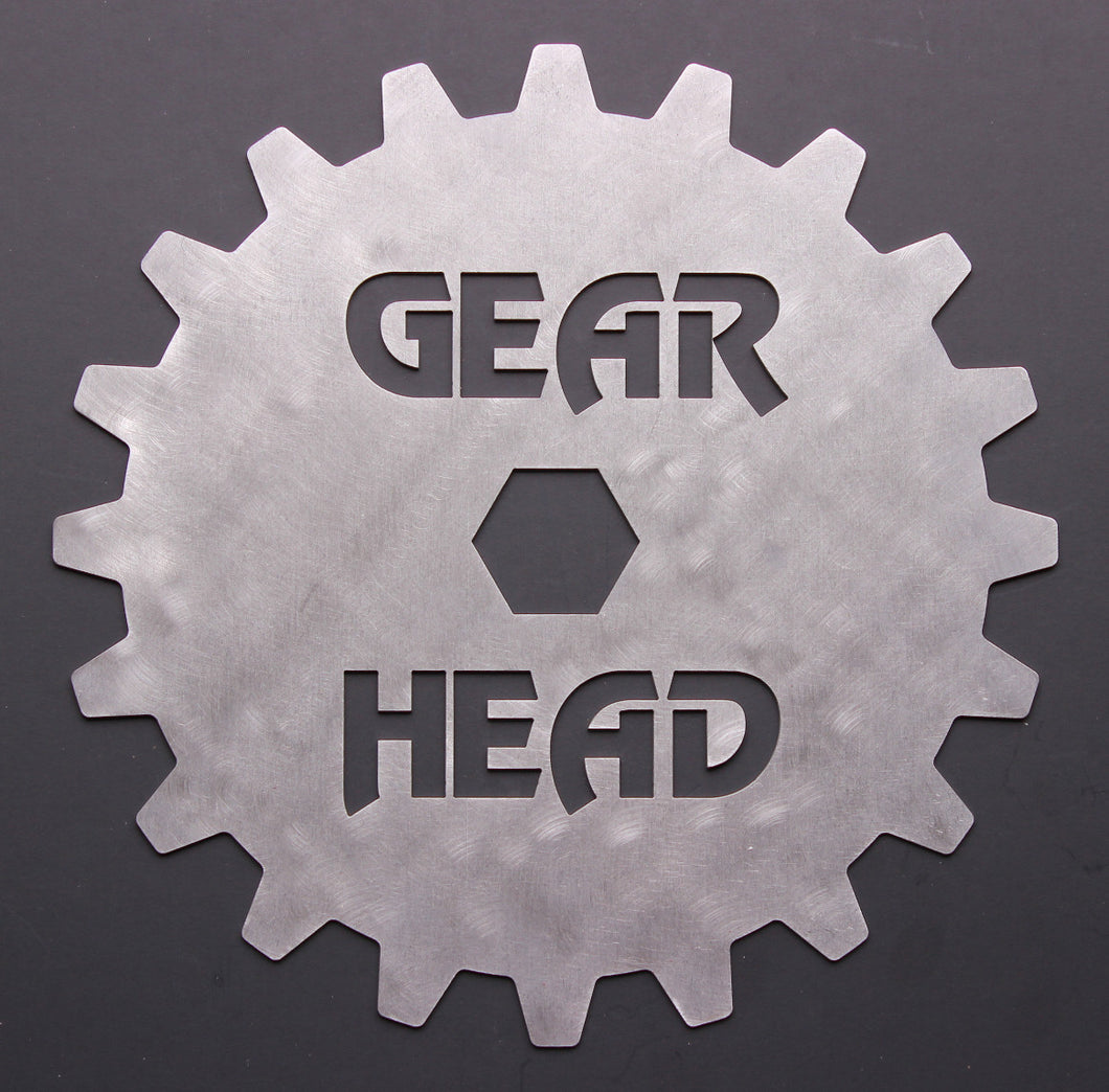 GEAR HEAD Stainless Steel Wall Art for Garage/Man Cave
