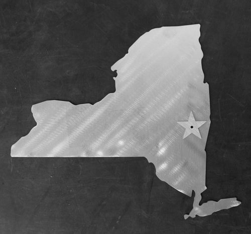NEW YORK State Cutout Stainless Steel Wall Decor