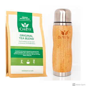 Chi Fit Bundle: Original Tea Blend(minimum 56 cups) and a Bamboo Thermal Flask