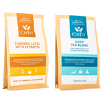 Chi Fit Bundle: Turmeric Latte Blend with extracts(min 30 cups) and Sleep Tea Blend(min 56 cups)