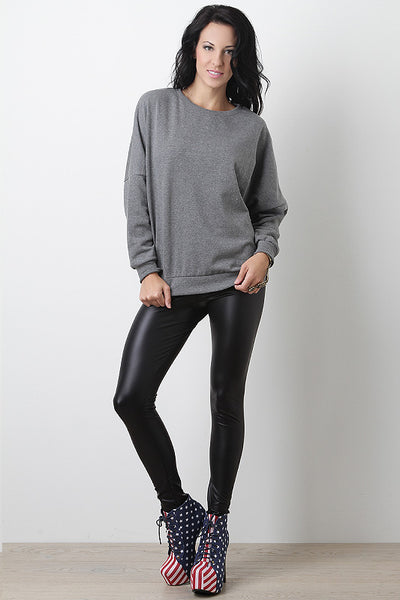 Matte Vegan Leather Stretch Leggings