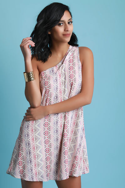 One Shoulder Geometric Print Shift Dress