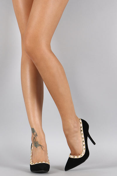 Wild Diva Lounge Nubuck Pyramid Studded Pointy Toe Pump
