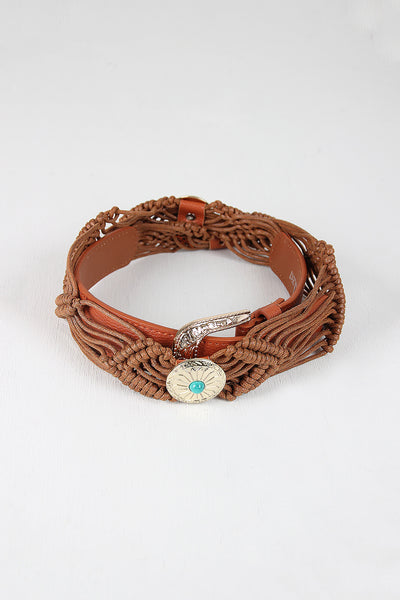 Strappy Cord Concho Belt