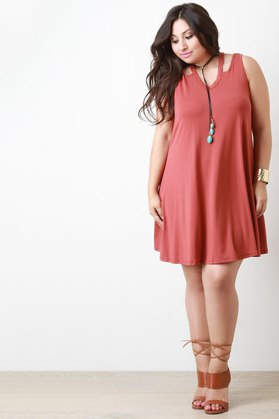 V Neck Shoulder Cut Out Shift Dress