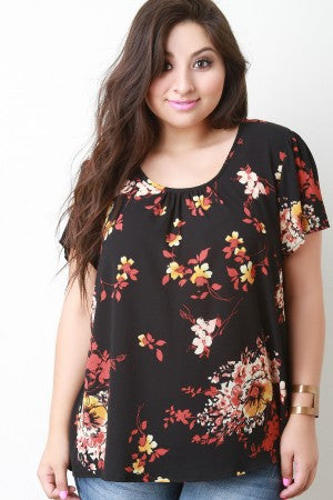 Floral Ruched Neckline Top