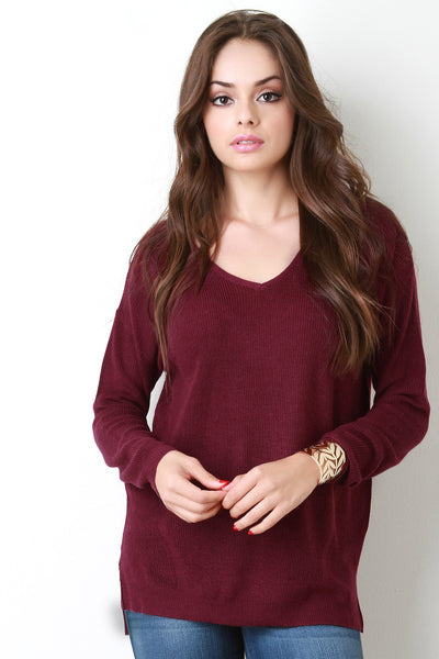 Rib Knit V Neck Slit Hem Sweater