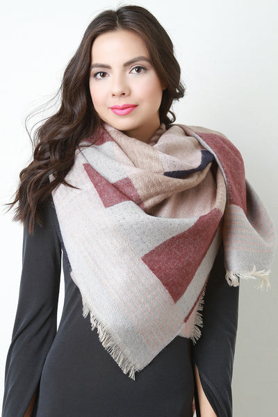 Soft Knit Squared Blanket Scarf