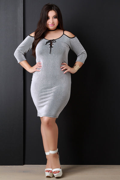 Contrast Rib Knit Cold Shoulder Self-Tie Lace Dress