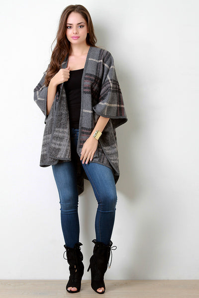Plaid Wool Open Front Poncho
