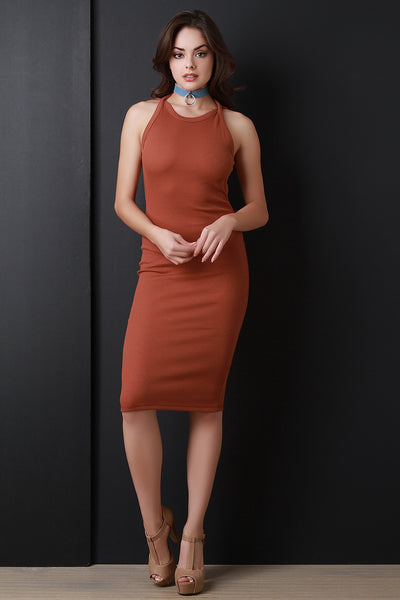 Backless Rib Knit Midi Dress