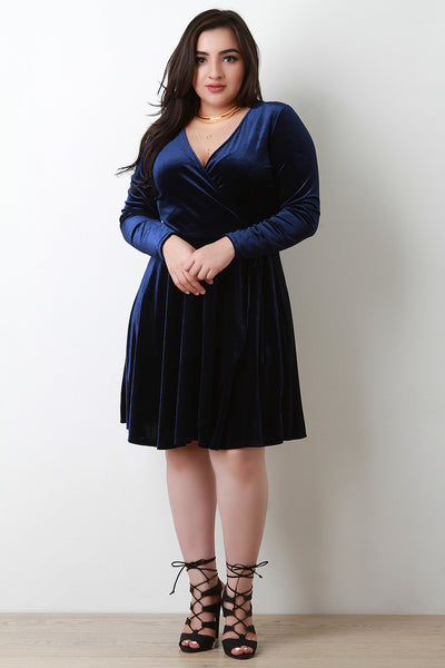 Velvet Surplice Skater Dress