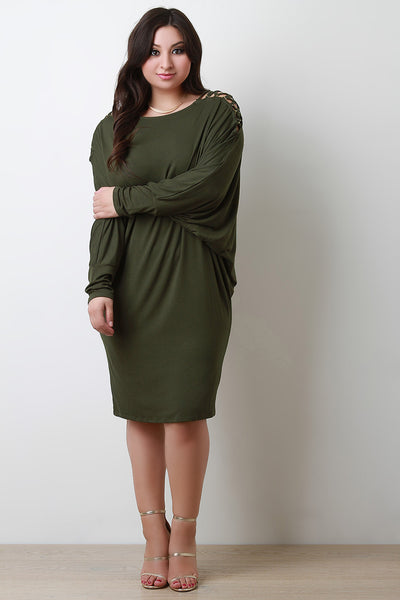 Lace Up Shoulder Dolman Shirt Dress