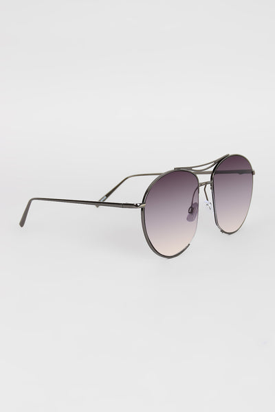 Long Semi Framed Wire Aviator Sunglasses