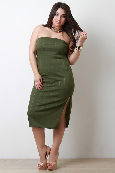 Plus Size Vertical Tube Bandage Dress