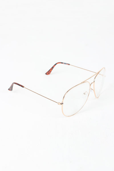 Clear Lens Wire Aviator Glasses