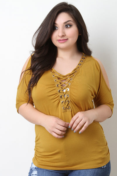 Grommet Lace Up Cold Shoulder Ruched Top