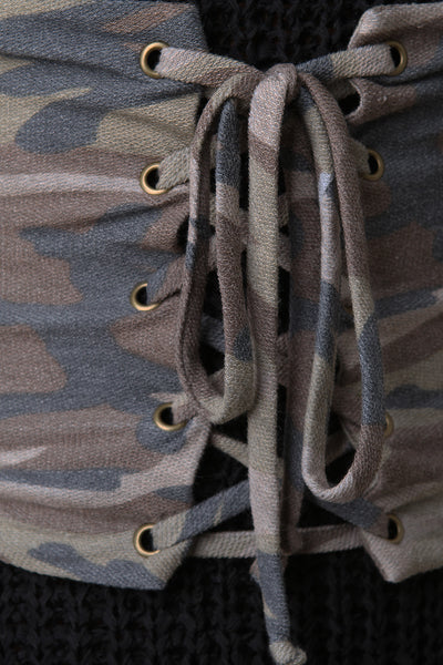 Terry Knit Camouflage Corset Lace Up Belt