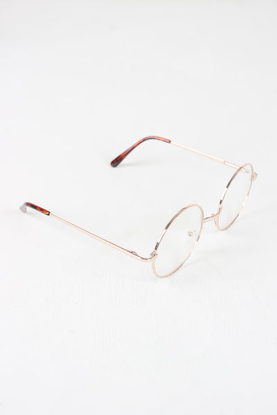 Circular Metal Framed Clear Lens Sunglasses