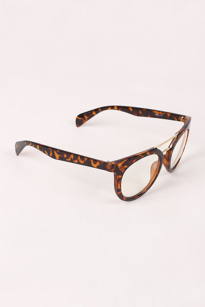 Printed Frame Round Clear Lens Glasses