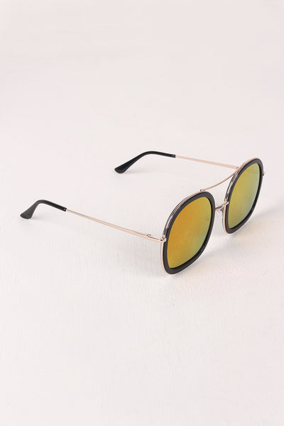 Double Bridge Round Mirrored Sunglasses